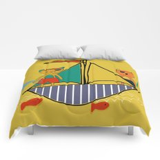 Pirate boat yellow Comforters