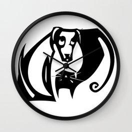yin and yang dog cat Wall Clock
