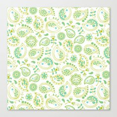 Hedgehog Paisley_Green and White Canvas Print