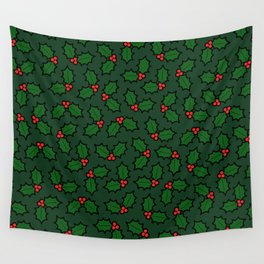 Holly Leaves and Berries Pattern in Dark Green Wall Tapestry