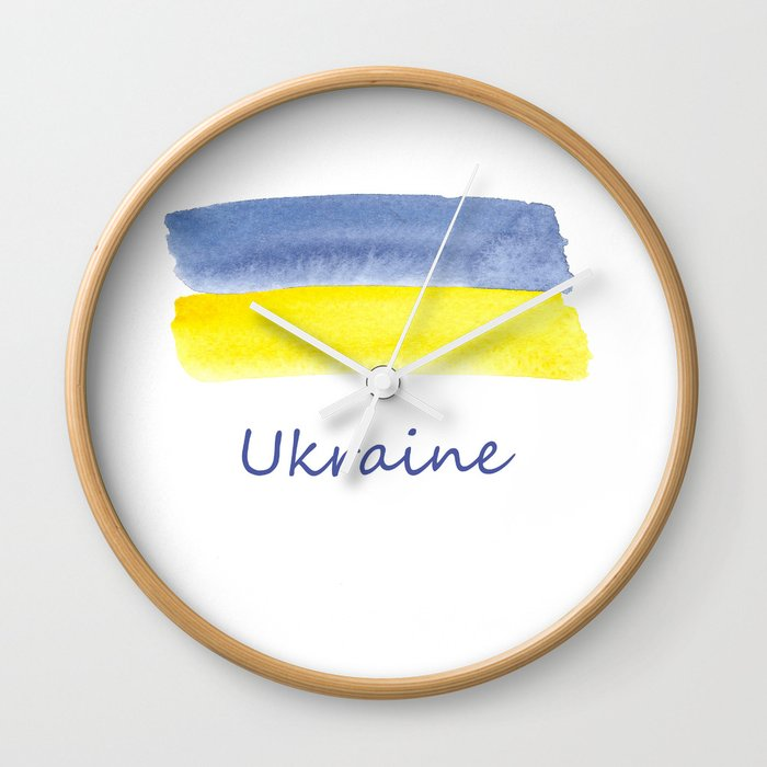 ukraine flag stripes Wall Clock