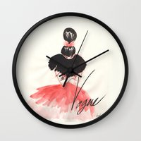 vogue Wall Clocks featuring Vogue Red by Katia Grifols