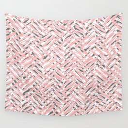 Boho Art, Tropical Weave Pattern, Blush Pink, Coral and Gray Wall Tapestry