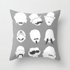 Famous Moustaches grey Throw Pillow