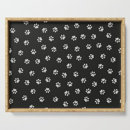Doodle white paw print seamless fabric design pattern with black background Serving Tray