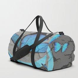 SHABBY CHIC  NEON BLUE BUTTERFLIES  & CHARCOAL GREY  N MOD Duffle Bag