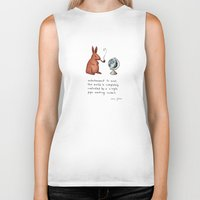 marc Biker Tanks featuring Pipe-smoking rabbit by Marc Johns