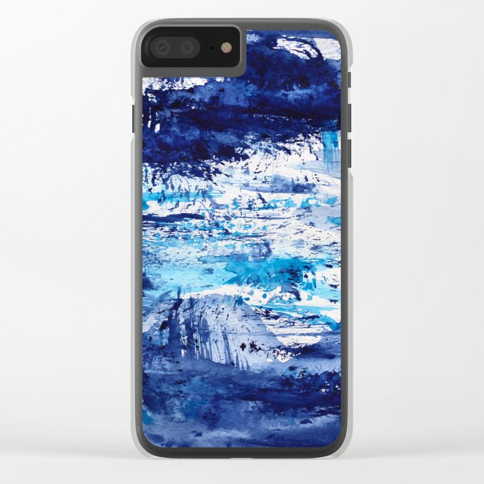 Blue passion    watercolor Clear iPhone Case