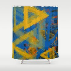 yellow triangles Shower Curtain