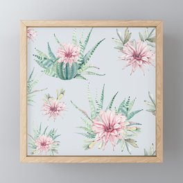 Cactus Pattern Light Blue #society6 #buyart Framed Mini Art Print