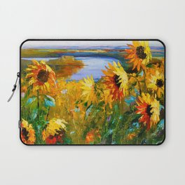Sunflowers by the river Laptop Sleeve
