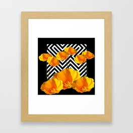BLACK & WHITE CALIFORNIA YELLOW POPPIES ART Framed Art Print