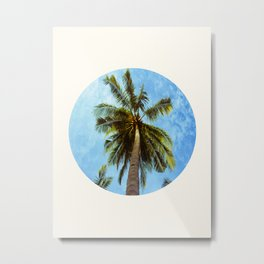 Mid Century Modern Round Circle Photo Looking Up At A Tropical Palm Trees Metal Print