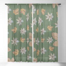 Green Christmas decor Sheer Curtain
