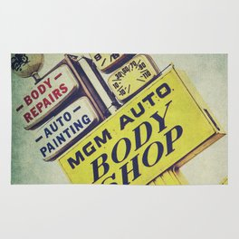 MGM Auto Body Shop Vintage Sign Rug