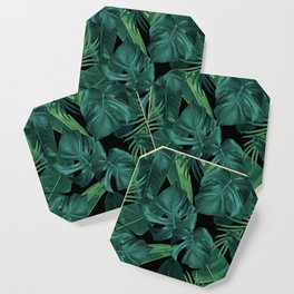 Tropical Summer Night Jungle Leaves Dream #1 #tropical #decor #art #society6 Coaster