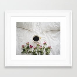 Roses and Coffee Framed Art Print