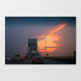 Cape Fear Bridge At Sunset Canvas Print