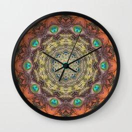 Peacock Feathers Mandala Wall Clock
