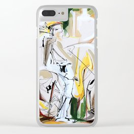 Expressive Musicians Playing Cello Flute Accordion Saxophone drawing Clear iPhone Case