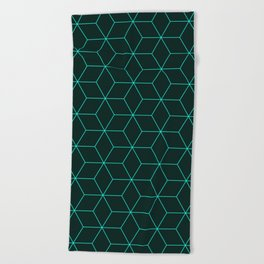 Cube Pattern 01 Green Beach Towel