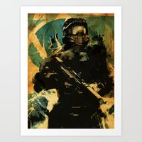 master chief Art Prints featuring Gamer print by Fan Prints