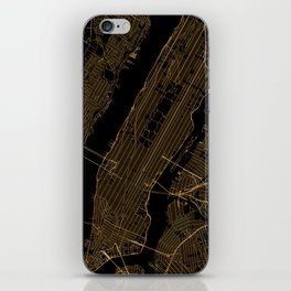 Black and gold New York City map iPhone Skin