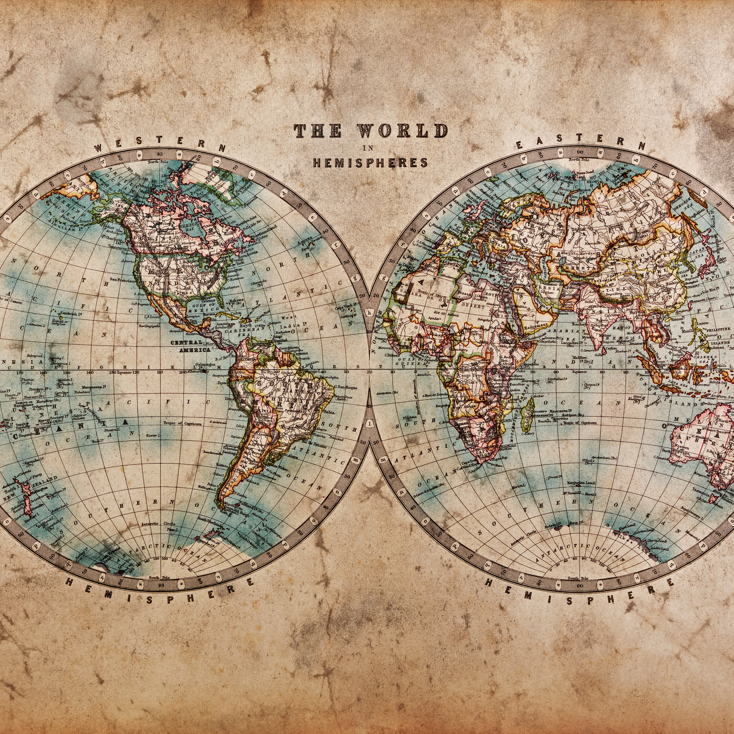 Vintage Map of the World 1800 Duvet Cover