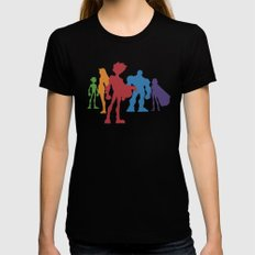 [ Teen Titans ] Robin, Starfire, Raven, Beast Boy and Cyborg Black SMALL Womens Fitted Tee
