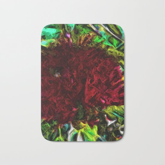 Red Flower in the Shadows and Bright Green Leaves Bath Mat