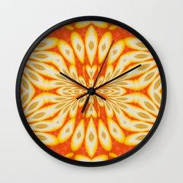 Citrus Lemon Slices and Orange Juice Floral Pattern Wall Clock