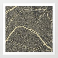 paris map Art Prints featuring Paris Map by Map Map Maps