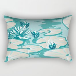 Monets Waterlilies Pattern — Mint Green Rectangular Pillow