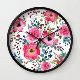 Pink Bohemian Florals Wall Clock
