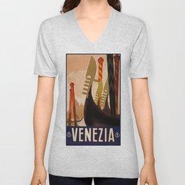 Venice, Italy, Venezia, travel vintage poster Unisex V-Neck