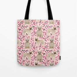 French Bulldog fawn coat cherry blossom florals dog pattern floral dog breeds Tote Bag
