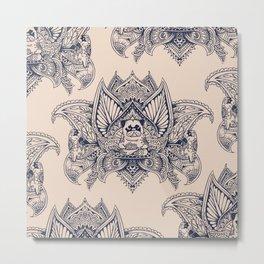 Lotus Mandala Pug Metal Print