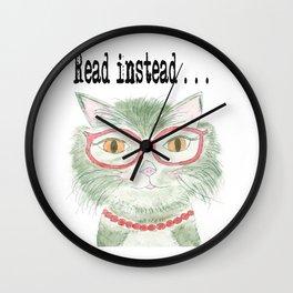 Hip reading kitty Wall Clock