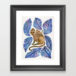 Monkey Cuddles – Navy Leaves Framed Art Print