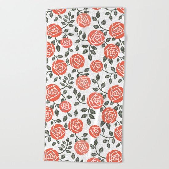 Retro roses Beach Towel
