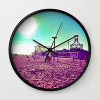 santa monica Wall Clocks featuring Santa Monica by SefoG