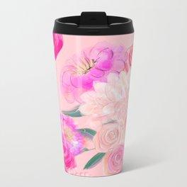 Floral Print Pink Rose Metal Travel Mug