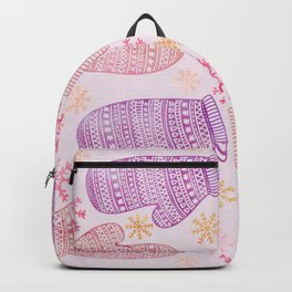Wintertime pattern knitted mittens Backpack