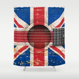 Old Vintage Acoustic Guitar with Union Jack British Flag Shower Curtain