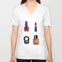 makeup V-neck T-shirts featuring Makeup is my art by Natalie Murray