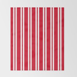 Red and White Wide Small Wide Stripes Throw Blanket
