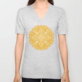 Lotus Mandala - Sunny Yellow Unisex V-Neck