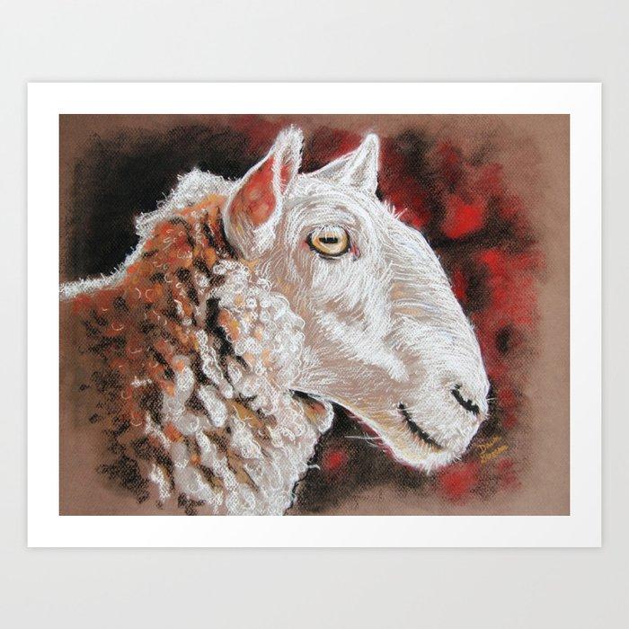 pastel drawing sheepish grin art print by dawnglesenerart society6