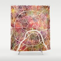 moscow Shower Curtains featuring Moscow Map by MapMapMaps.Watercolors