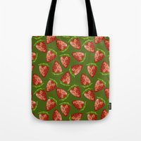 strawberry Tote Bags featuring Strawberry by Julia Badeeva